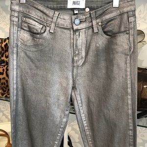 PAIGE Metallic Dark Gray Verdugo Ultra Skinny Pant